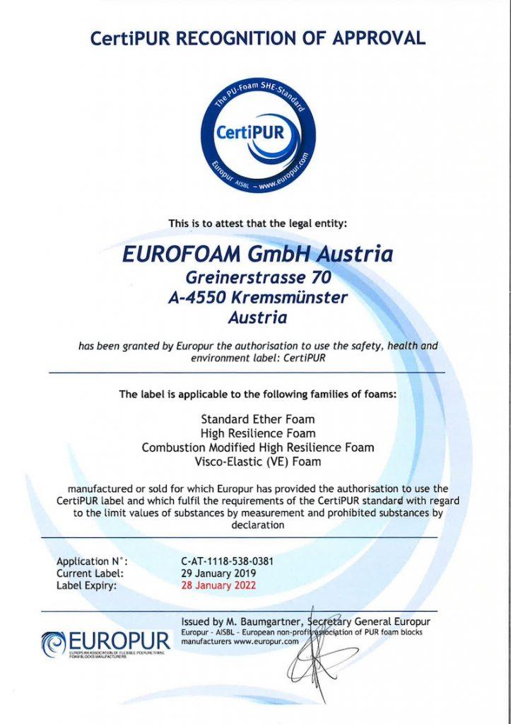 Az osztrák Eurofoam CertiPUR igazolása